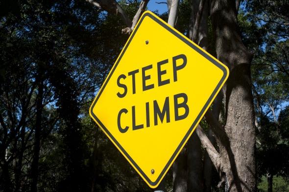 Steep Climb Yellow Road Sign